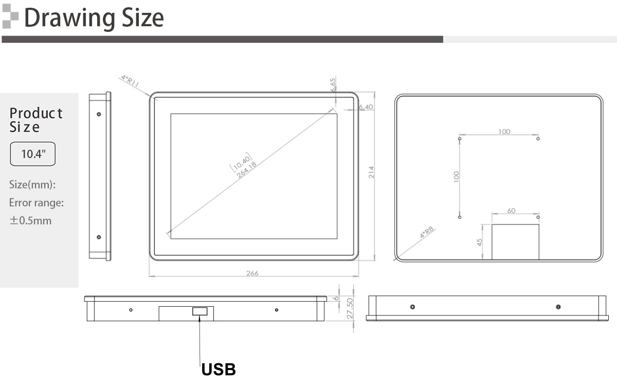 10.4 inch USB Powered Touch Monitor
