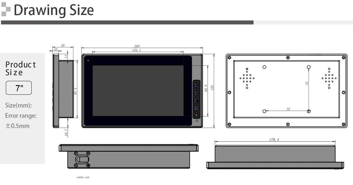 7 inch Industrial wide temperaturer LCD monitor with remote control