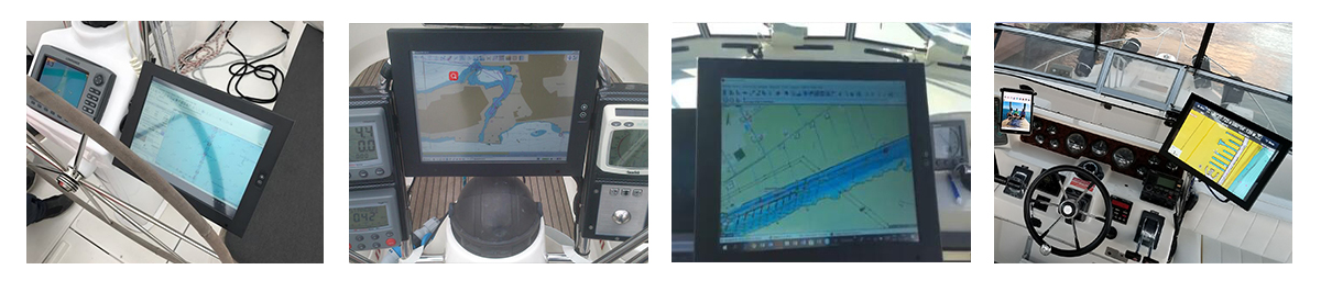 "15"" bnc display for marine navigation with protective cover"