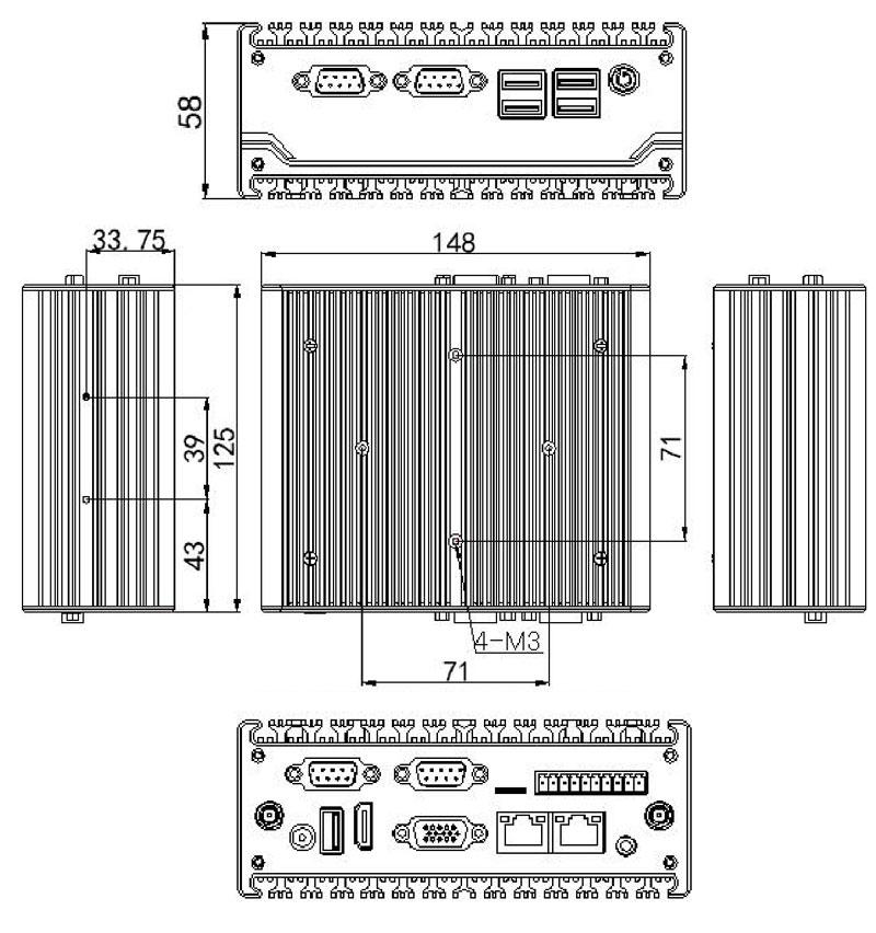 J1900 NUC mini pc with Dual RS485 Dual Lan