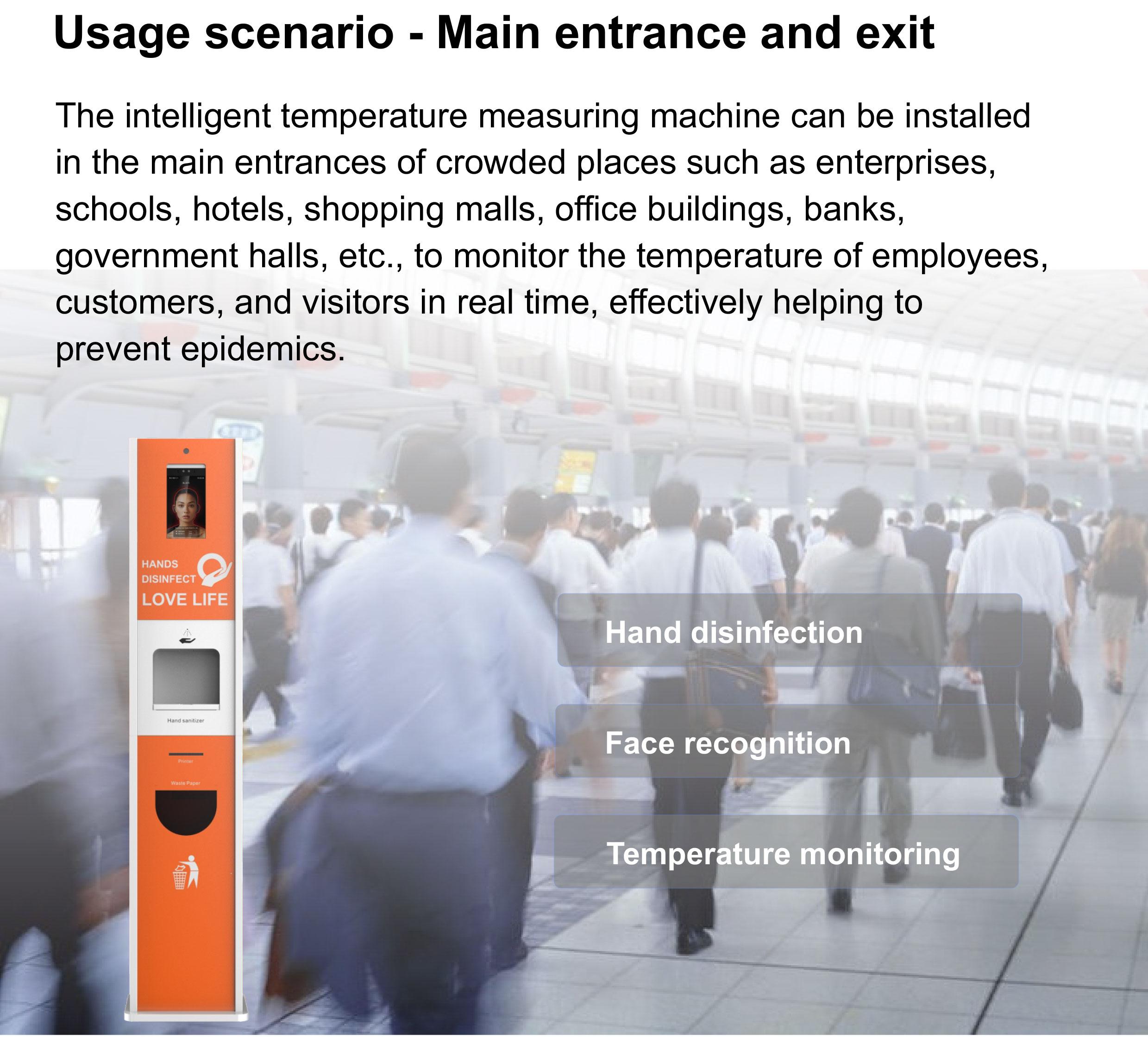 Hand Sanitizer Dispenser Temperature Scanning Kiosk