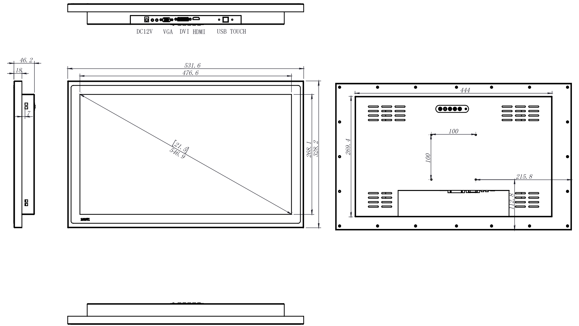 """21.5"""" Optical Boding 1000 nits LCD panel Stainless Steel Touch Screen"""