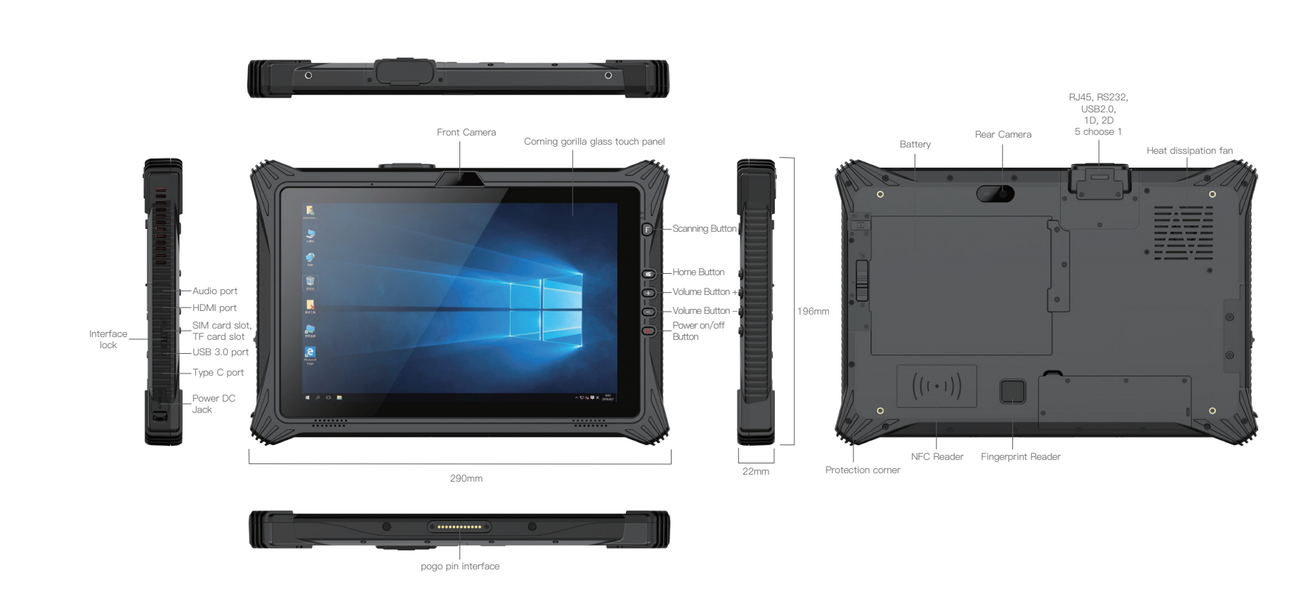 """10.1"""" Rugged Tablet for Windows with NFC 4G GPS WIFI"""