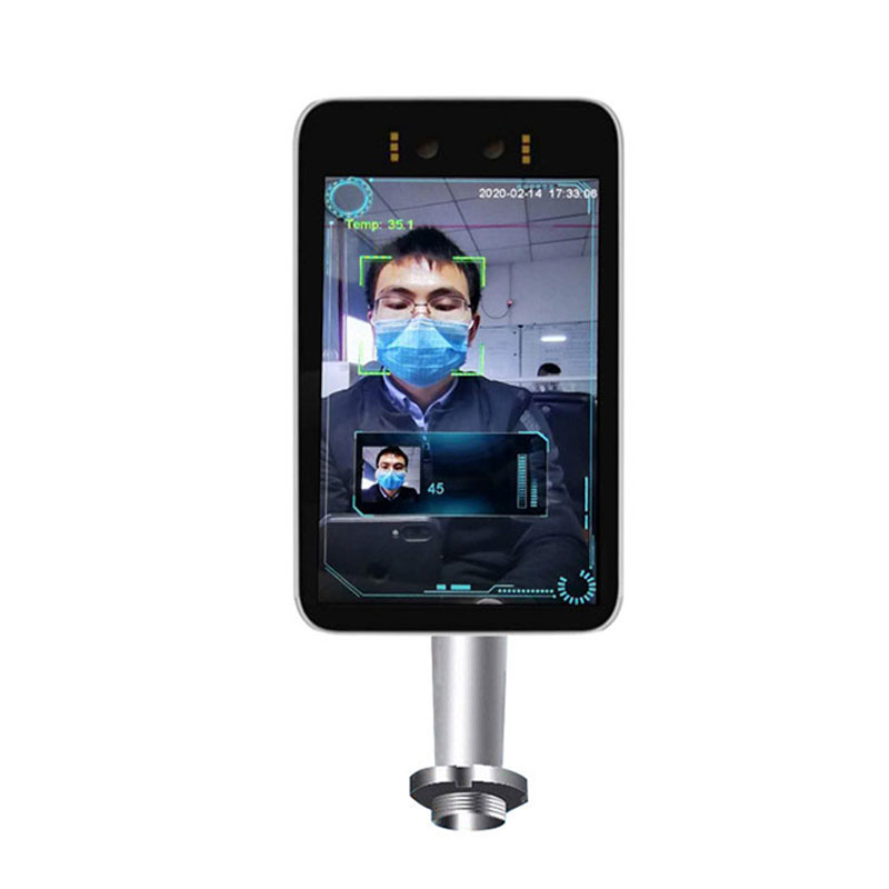 Face recognition tablet with infrared thermometer