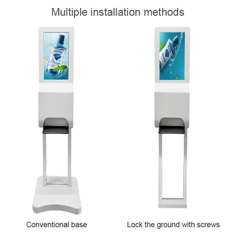 digital signage with hand sanitizers dispenser