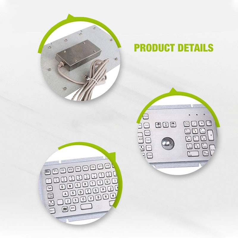 Rugged Industrial Metal Keyboard With Trackball Mouse