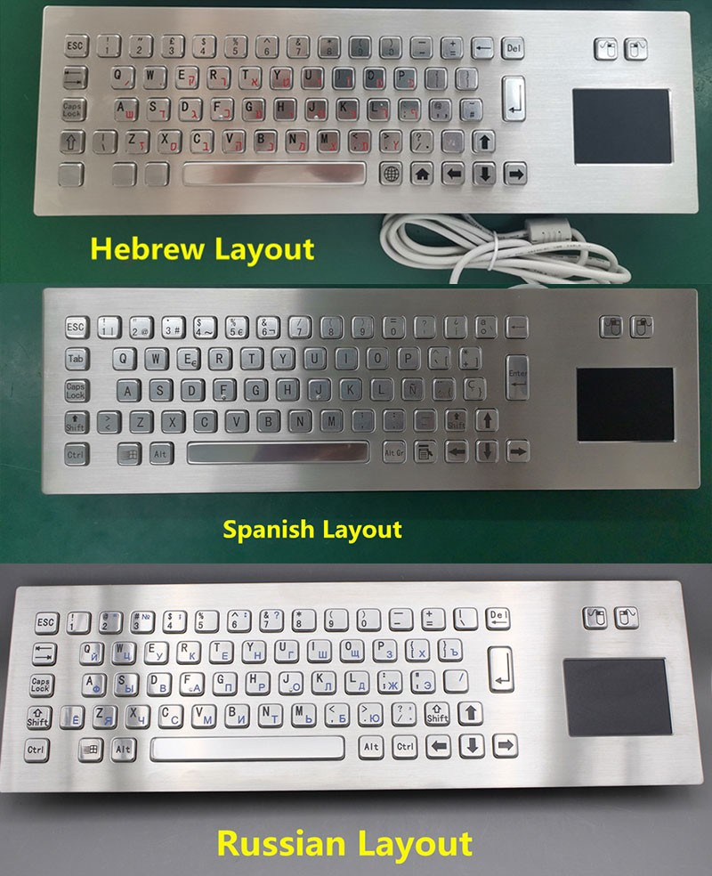 Industrial wired computer keyboard with touchpad